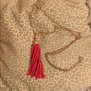 Lilly Pulitzer tassel necklace pink and gold